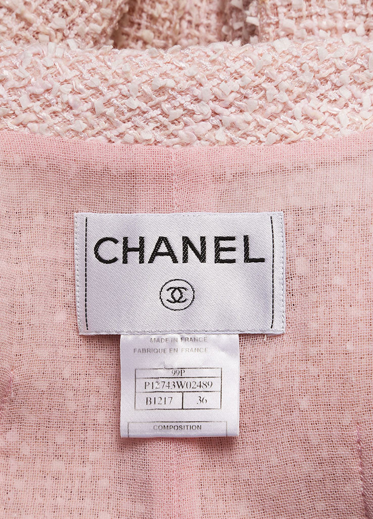 Chanel Pink and Cream Tweed Boucle Cotton and Wool Blend Single Button Jacket Brand