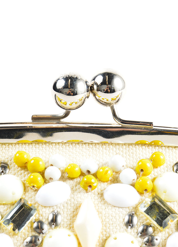 Chloe Cream, Yellow, and Silver Toned Canvas Beaded Kiss Lock Frame Clutch Bag Detail 2