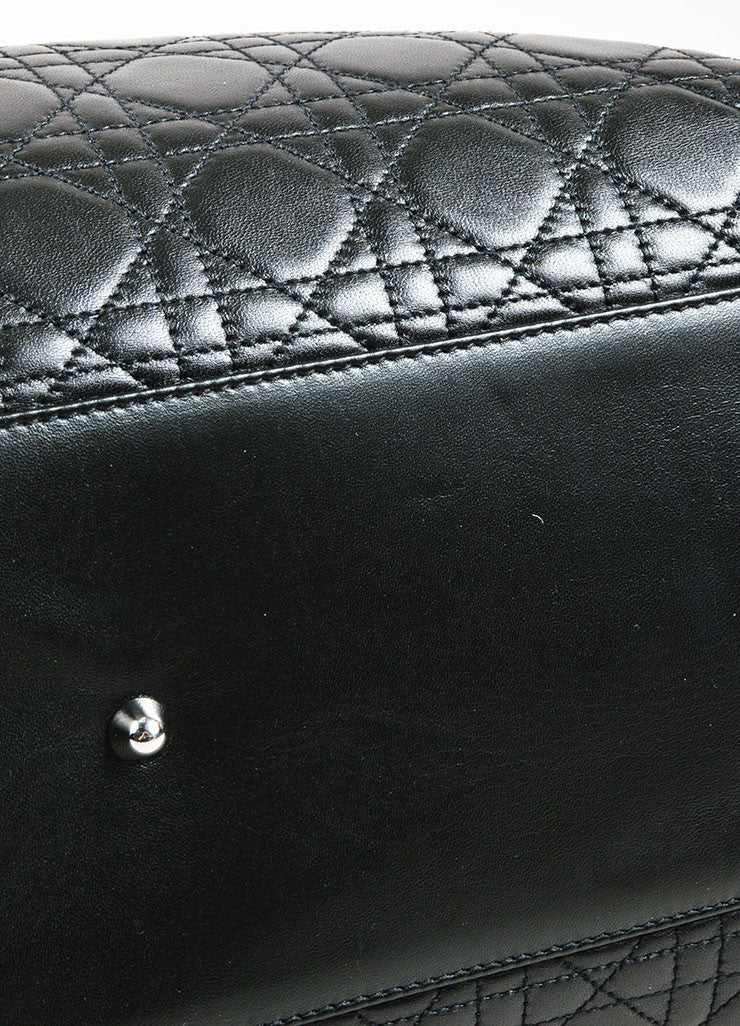 "å´?ÌÜChristian Dior Black ""Cannage"" Quilted Leather Large ""Lady Dior"" Tote Bag Bottom View"