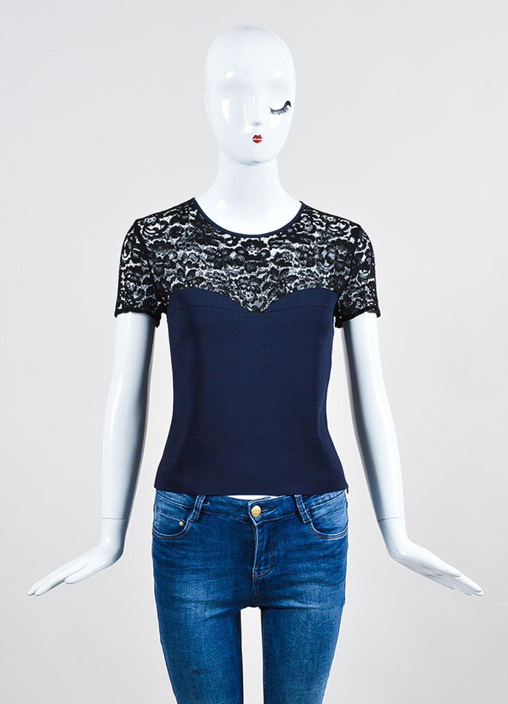 Navy Blue and Black Christian Dior Knit Sheer Lace Short Sleeve Crop Top Frontview