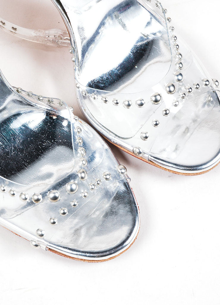 "Silver and Clear Christian Louboutin Studded ""Icone a Clouse"" Sandals Detail"