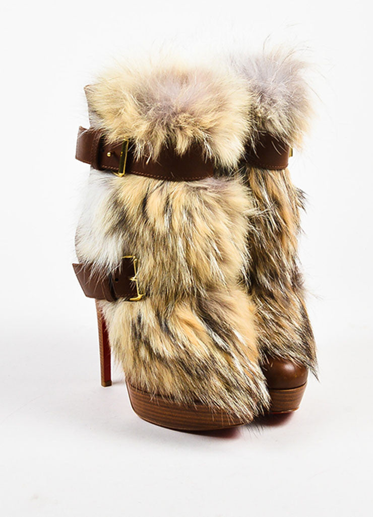 "Christian Louboutin Brown Leather Fur ""Toundra Booty 140"" Boots Frontview"