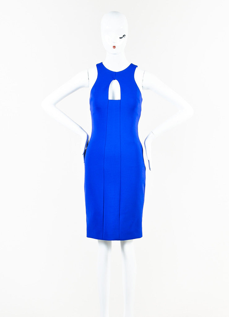 Blue Cushnie et Ochs Stretch Scuba Cut Out Sleeveless Sheath Dress Front