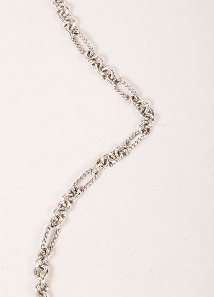 "David Yurman Sterling Silver 18K Gold 32"" Cable Chain ""Figaro"" Necklace Detail 1"