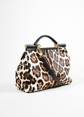 "Dolce & Gabbana Cream and Brown Pony Hair Leopard Print ""Miss Sicily"" Bag Sideview"