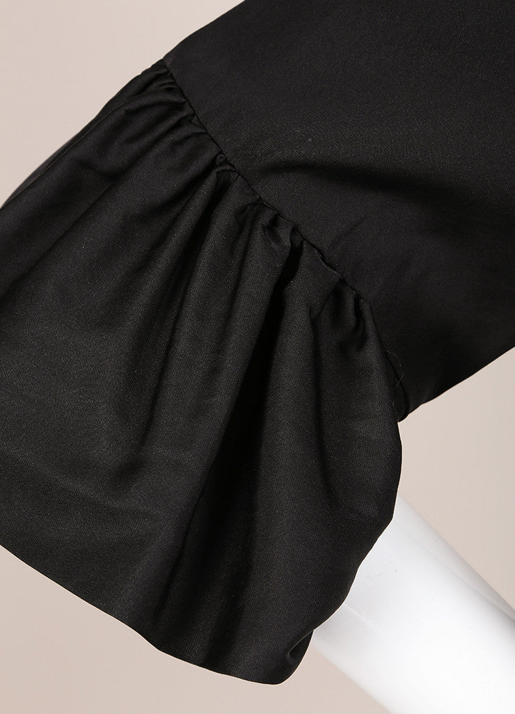 Dries Van Noten Black Satin Ruffle Trim Crop Sleeve Shift Dress Detail