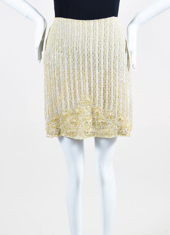 Escada Tan Silk Sequin Beaded Embellished Mini Skirt Frontview