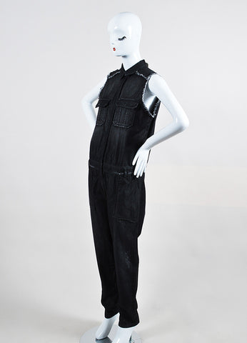"Black Etienne Marcel Denim Frayed Sleeveless Utility ""Cut Loose"" Jumpsuit  Sideview"