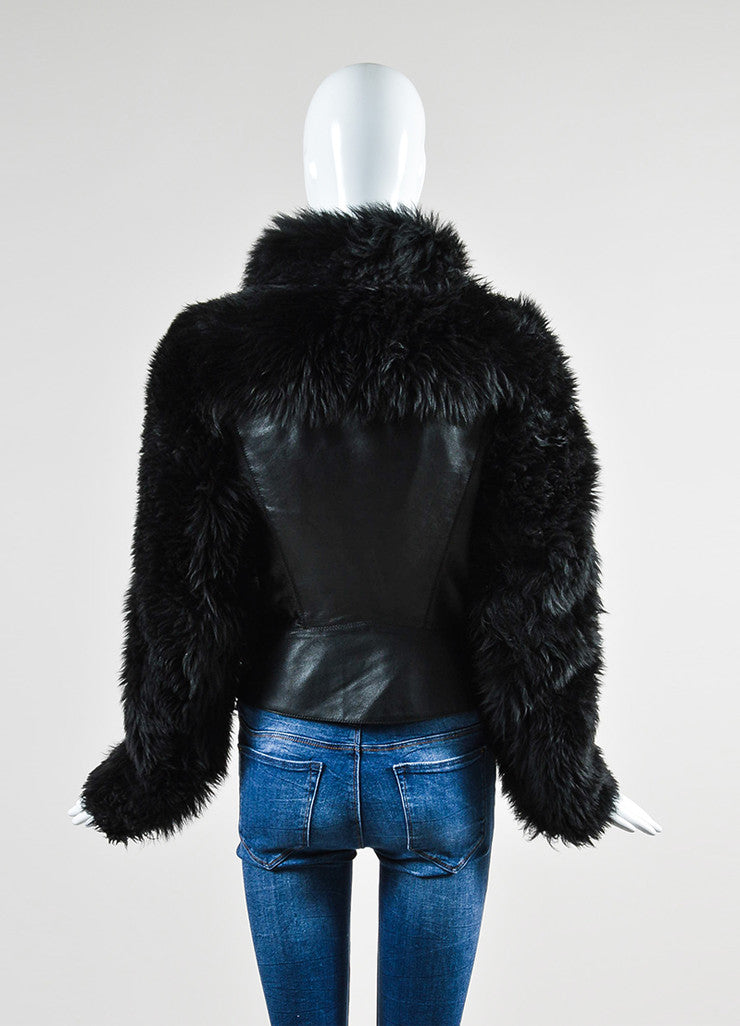 Black Gareth Pugh Leather and Shearling Fur Sleeves Jacket Backview