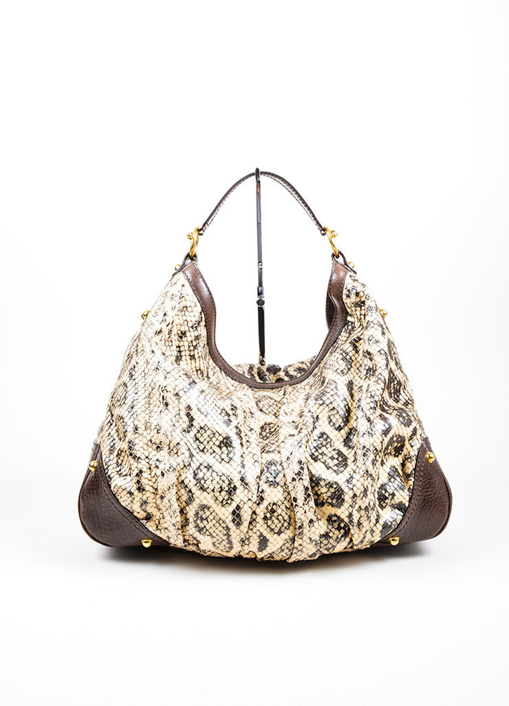 Brown and Cream Gucci Python Leather Large Horsebit Hobo Bag Frontview