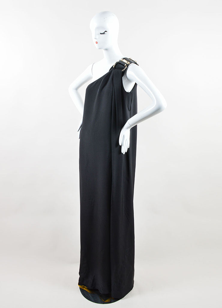Gucci Black and Yellow Silk Patent Leather Belt One Shoulder Slit Gown Sideview