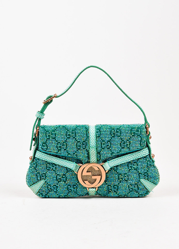 Gucci Green Beaded Lizard 'GG' Mini Flap Handbag Front