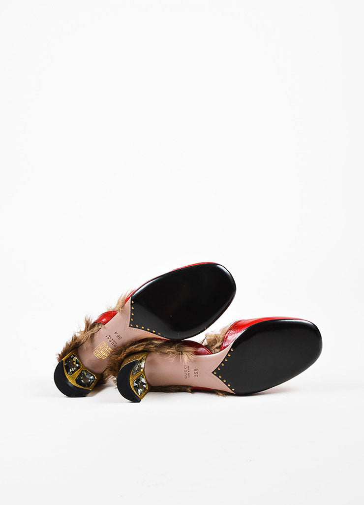"Red Gucci Eel & Kangaroo Fur Slingback ""Arielle"" Pumps Sole"