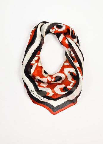 Gucci Red, Black, and White Silk Printed Sheer Square Scarf Frontview