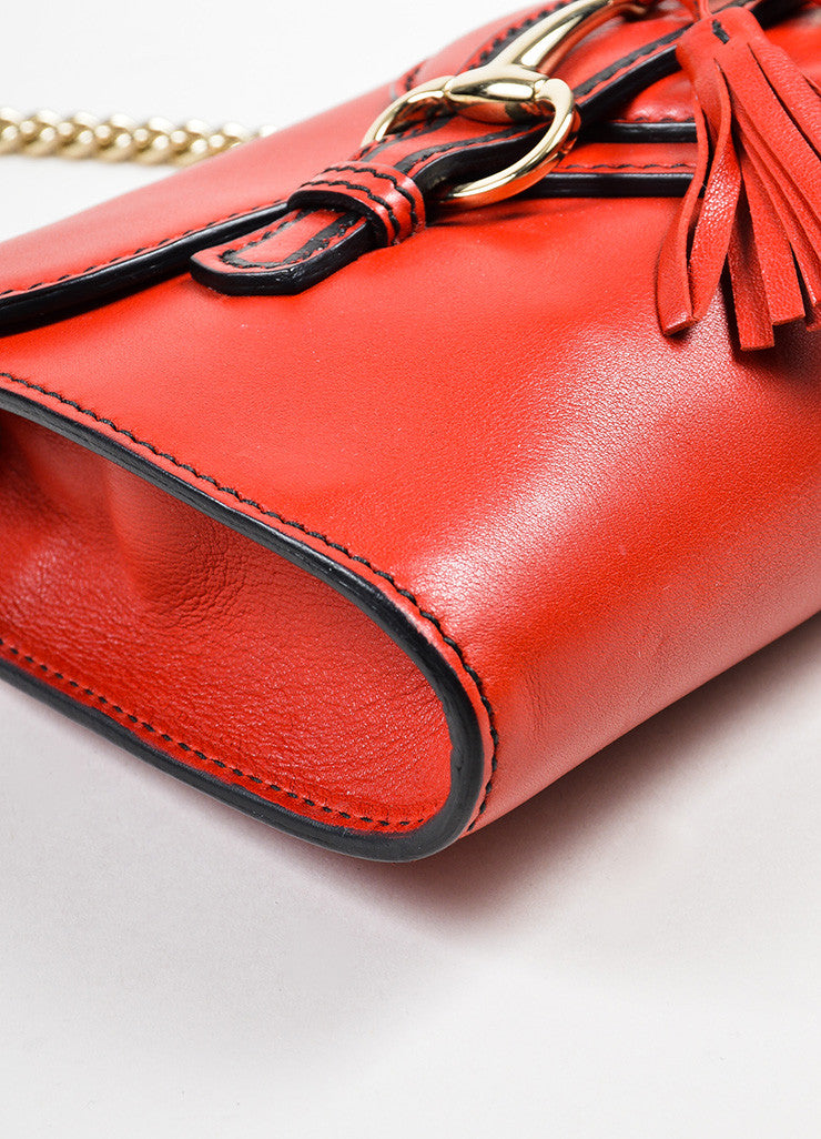"Red Gucci Leather ""Emily"" Horsebit Tassel Chain Strap Shoulder Bag Detail"