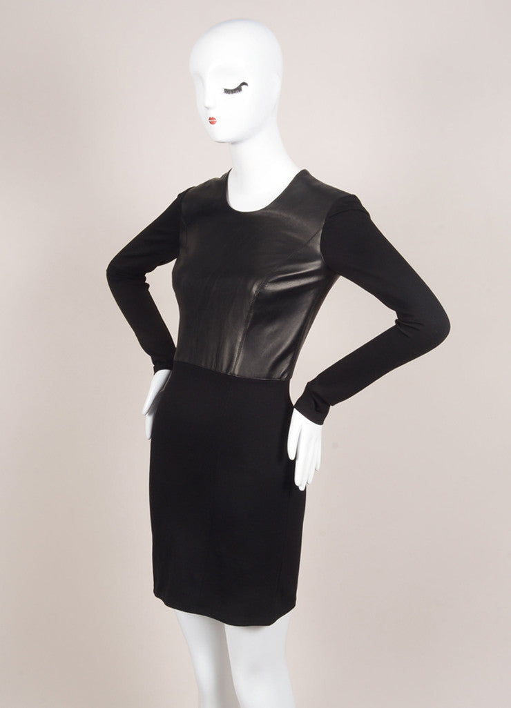 HELMUT Helmut Lang New With Tags Black Leather Knit Long Sleeve Dress Sideview