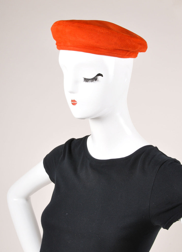 Hermes Red Suede Leather Beret Hat  Sideview