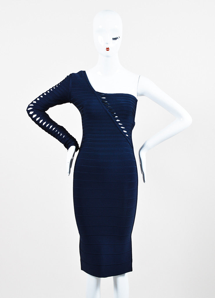 "Herve Leger ""Pacific Blue"" One Shoulder ""Sheron"" Bandage Dress Frontview"