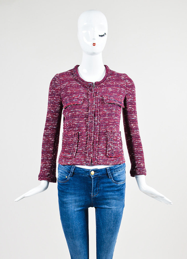Red, White, and Blue Isabel Marant Etoile Woven Knit Jacket Frontview 2