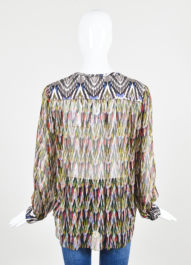 "Isabel Marant Multicolor Silk Print ""Pilay"" Long Sleeve Blouse Backview"
