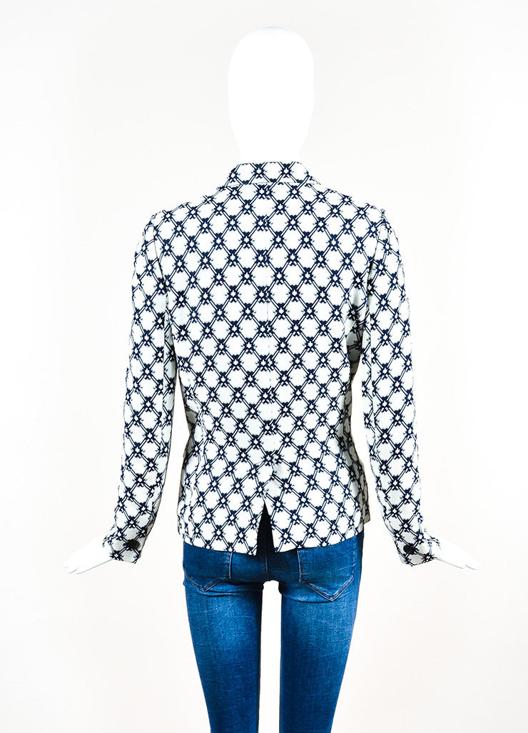 Isabel Marant White and Navy Blue Crepe Printed Blazer Jacket Backview