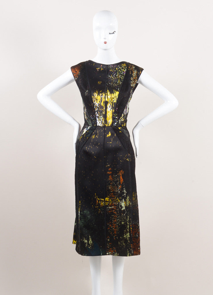J. Mendel New With Tags Black and Multicolor Silk Lace Insert Sleeveless Dress Frontview