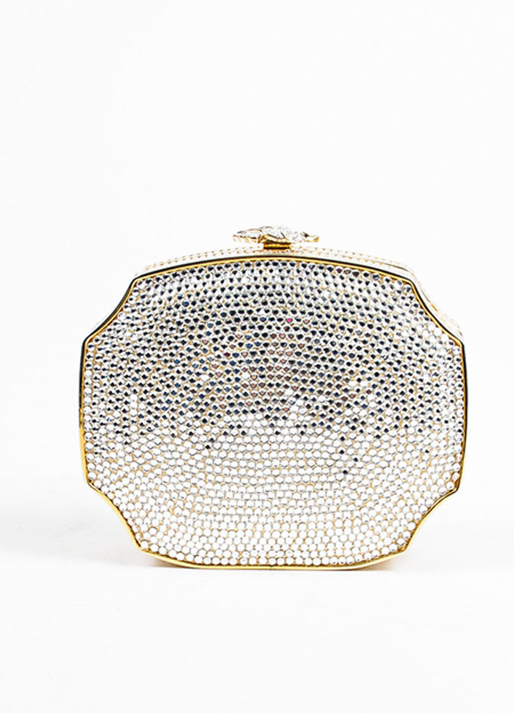 Judith Leiber Crystal Gold Toned Minaudiere Clutch Evening Bag Frontview