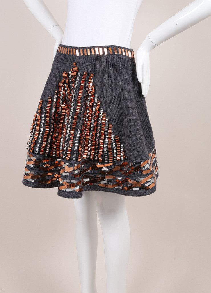 Kenzo New With Tags Grey, Metallic Bronze, and Silver Wool Sequin Embellished Skirt Sideview