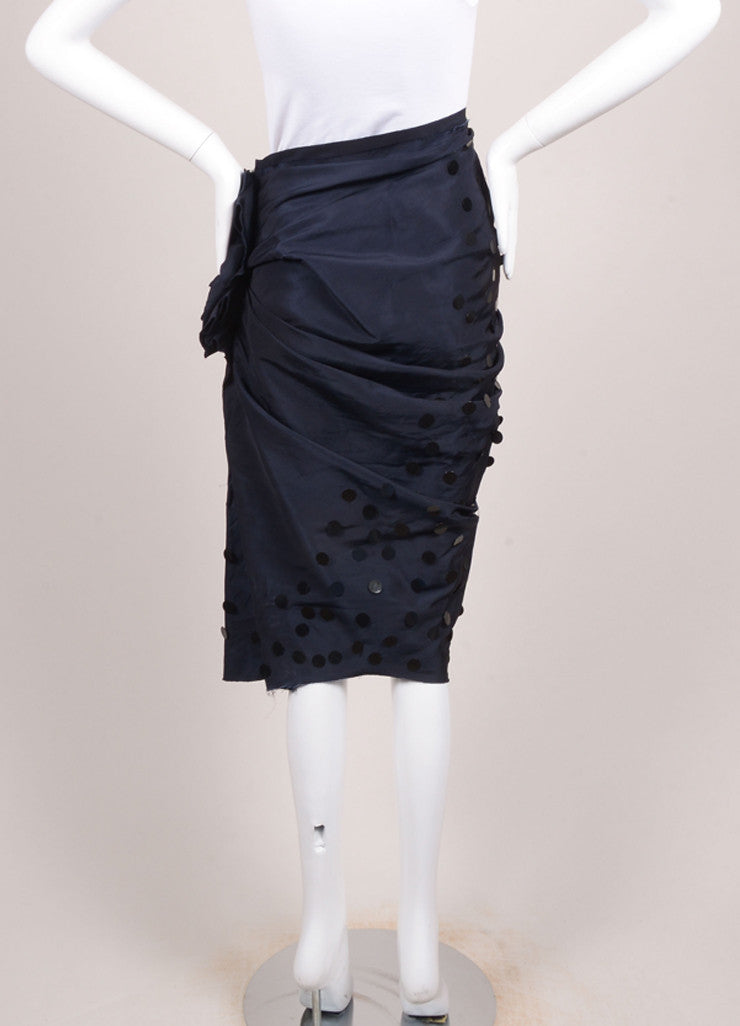 Lanvin Navy Blue Silk Paillette Embellished Ruched Skirt Backview