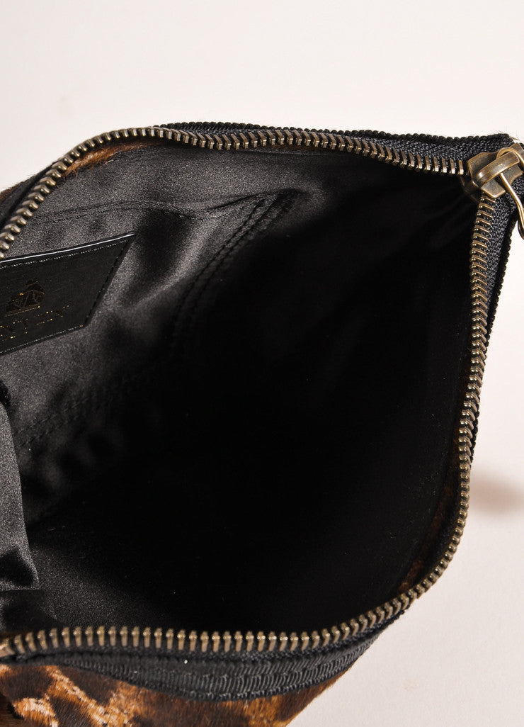 Lanvin Brown and Black Leopard Print Ponyhair Flat Zip Clutch Bag Interior