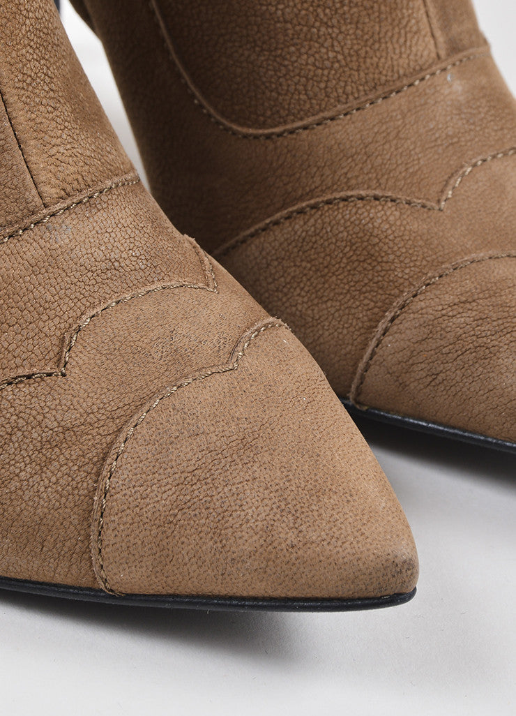 Lanvin Brown Leather Pointed Toe Heeled Booties Detail