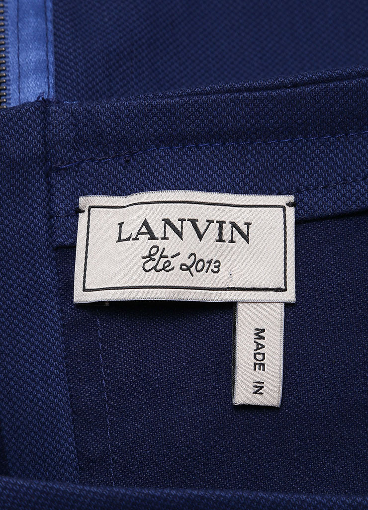 Lanvin Dark Blue Linen Woven Knit Short Sleeve Fitted Sheath Dress Brand