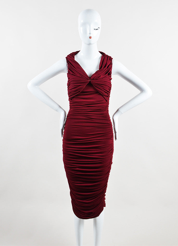"Lanvin Burgundy Red ""Raisin"" Stretch Knit Long Draped Dress Frontview"