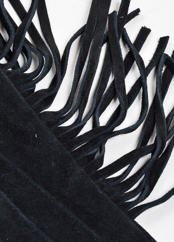 Black Lanvin Goat Suede Fringe Medium Length Gloves Detail