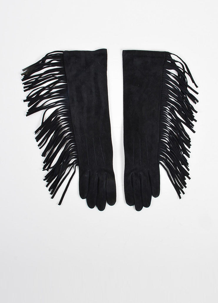 Black Lanvin Goat Suede Fringed Medium Length Gloves Frontview