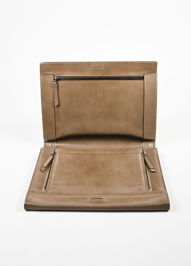 Lanvin Taupe Leather Fold Over Document Portfolio Clutch Interior