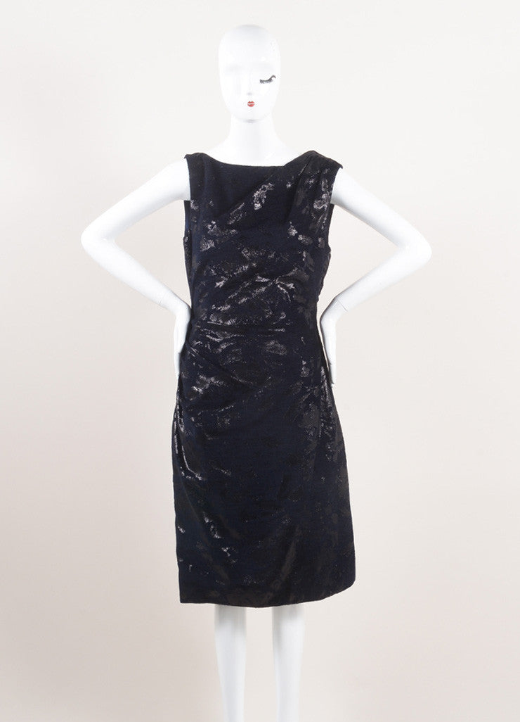 Lela Rose New With Tags Metallic Navy Jacquard Draped Back Sleeveless Dress Frontview