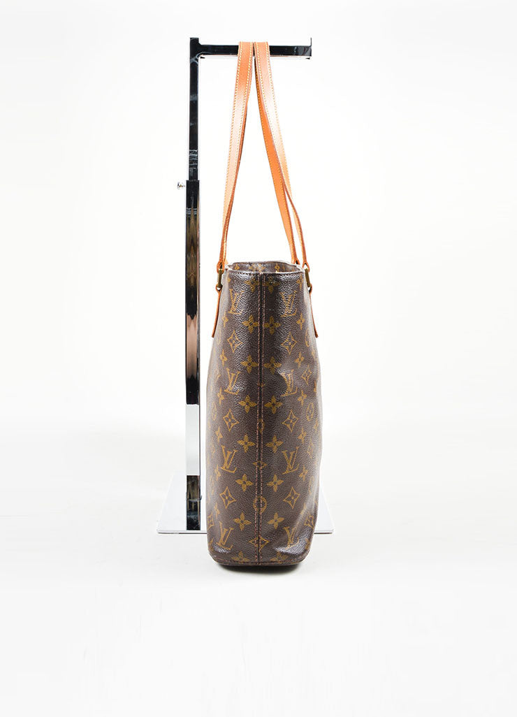 Brown Tan Louis Vuitton Monogram Canvas Luca Tote Bag Side