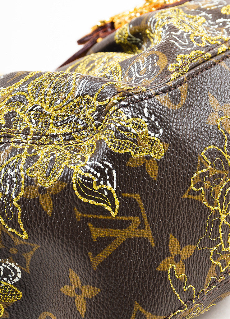 "Louis Vuitton Brown Metallic Gold Leather Trim ""Dentelle Kirsten"" Bag Detail 2"