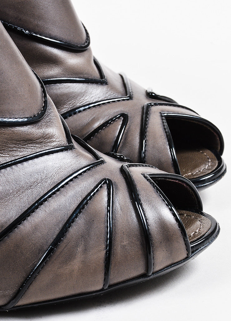 Louis Vuitton Pewter and Black Leather Peep Toe Stiletto Booties Detail
