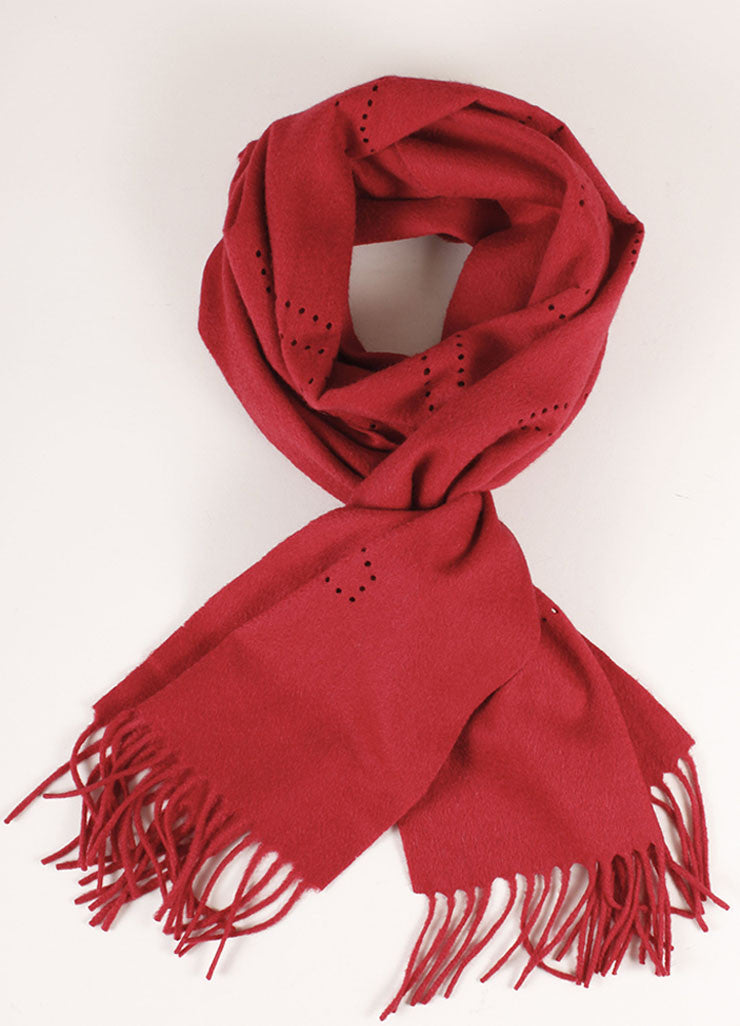 Louis Vuitton Red Cashmere Perforated Scarf Frontview