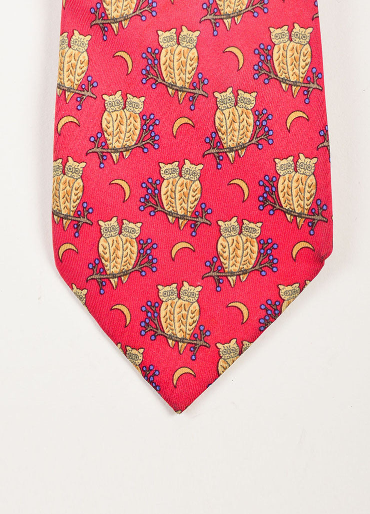 Men's Hermes Red Tan Blue Multicolor Silk Twill Animal Print Neck Tie Detail
