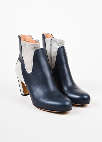 Maison Martin Margiela Navy Leather Light Gray Suede Ankle Booties Frontview