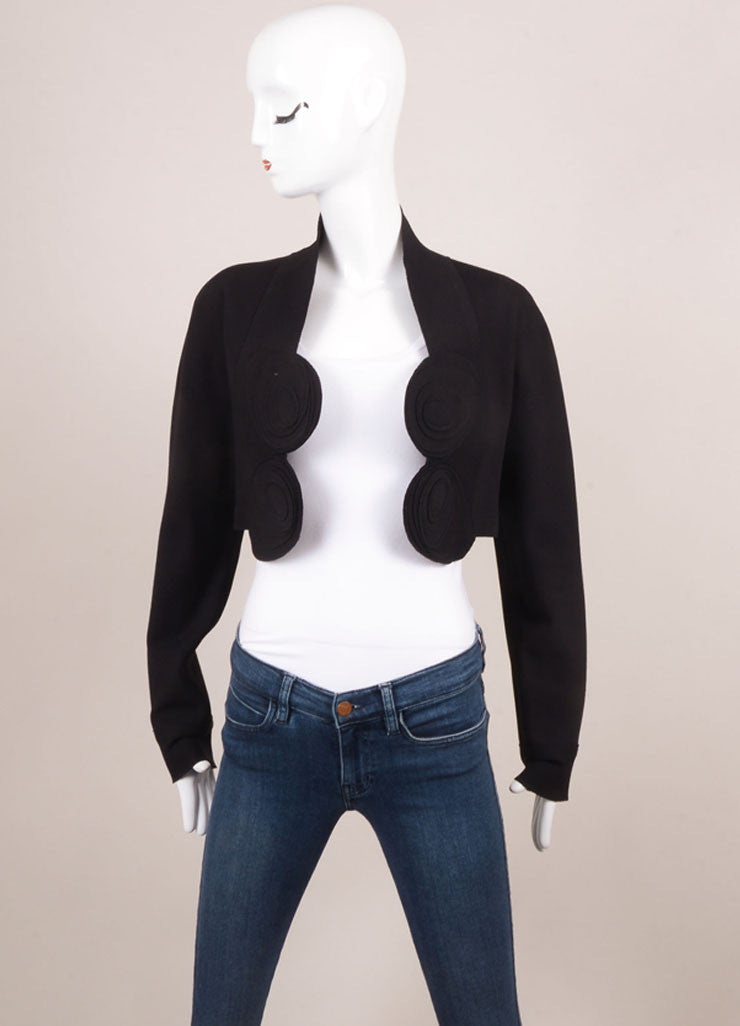Marie Saint Pierre Black Knit Applique Trim Long Sleeve Crop Shrug Frontview