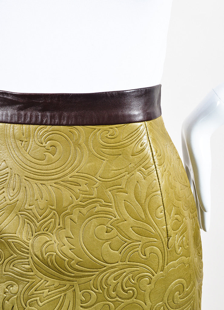 Mary Katrantzou Olive Green and Brown Leather Embossed Mini Skirt Detail