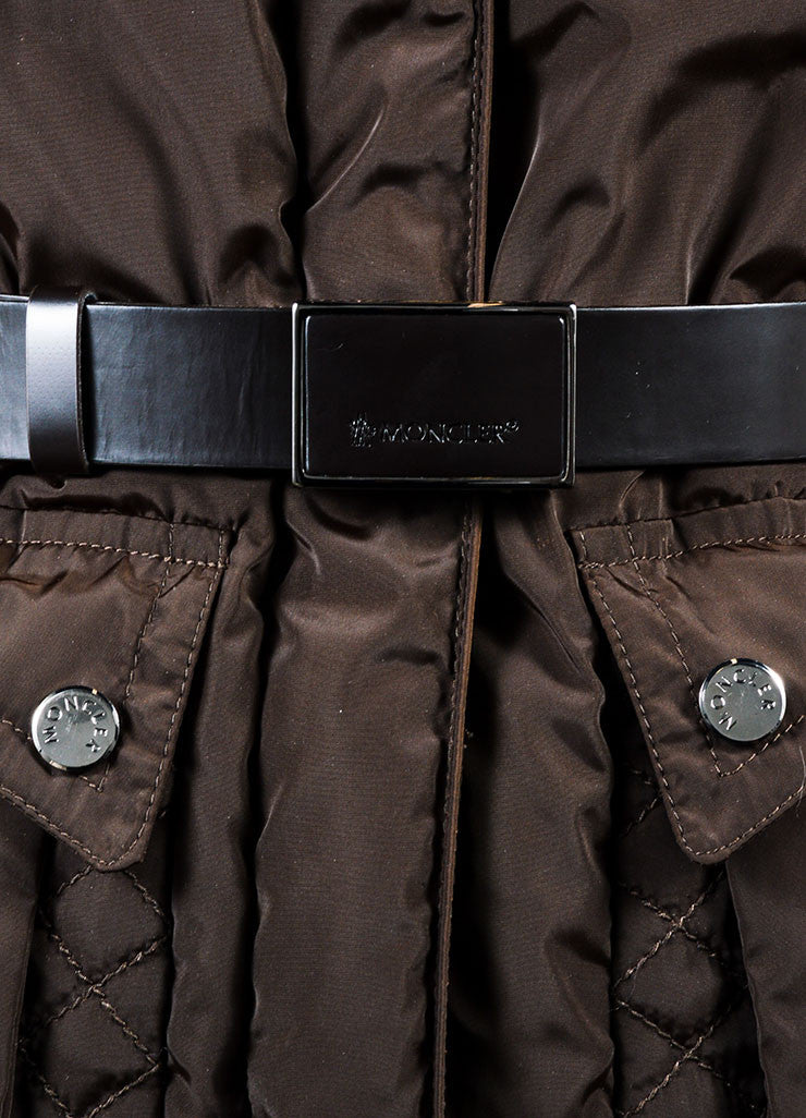 Brown Moncler Belted Down Filled Removable Fur Trim Puffer Coat Detail