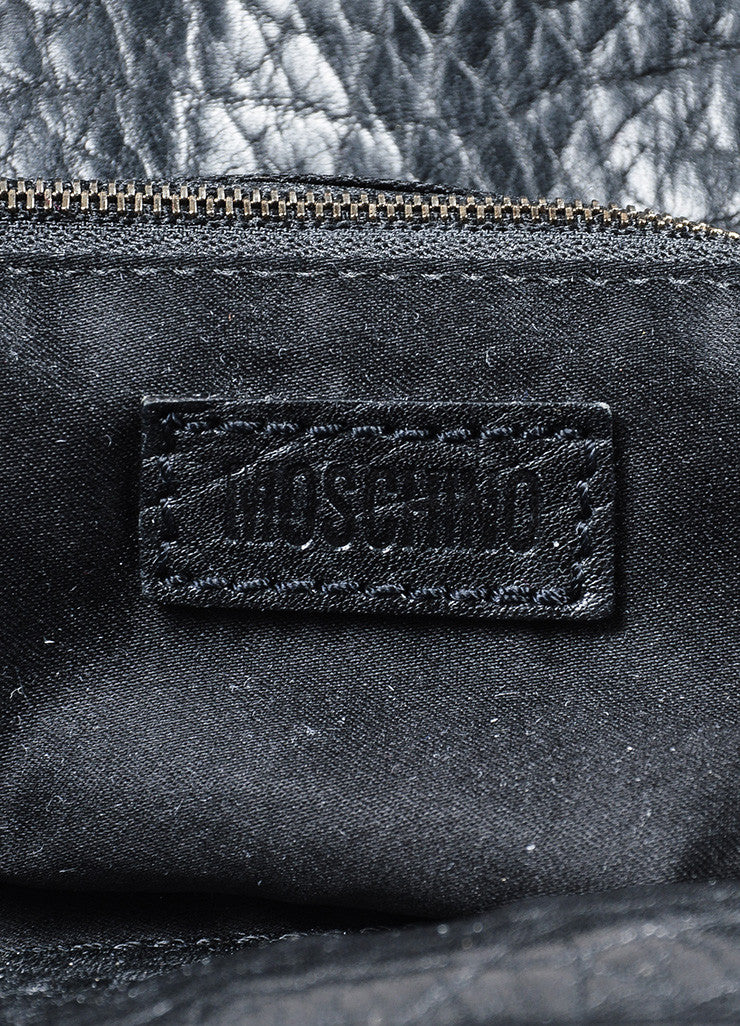 "Black Moschino Satin and Leather Padlock Top Handle ""Muffin"" Satchel Bag Brand"