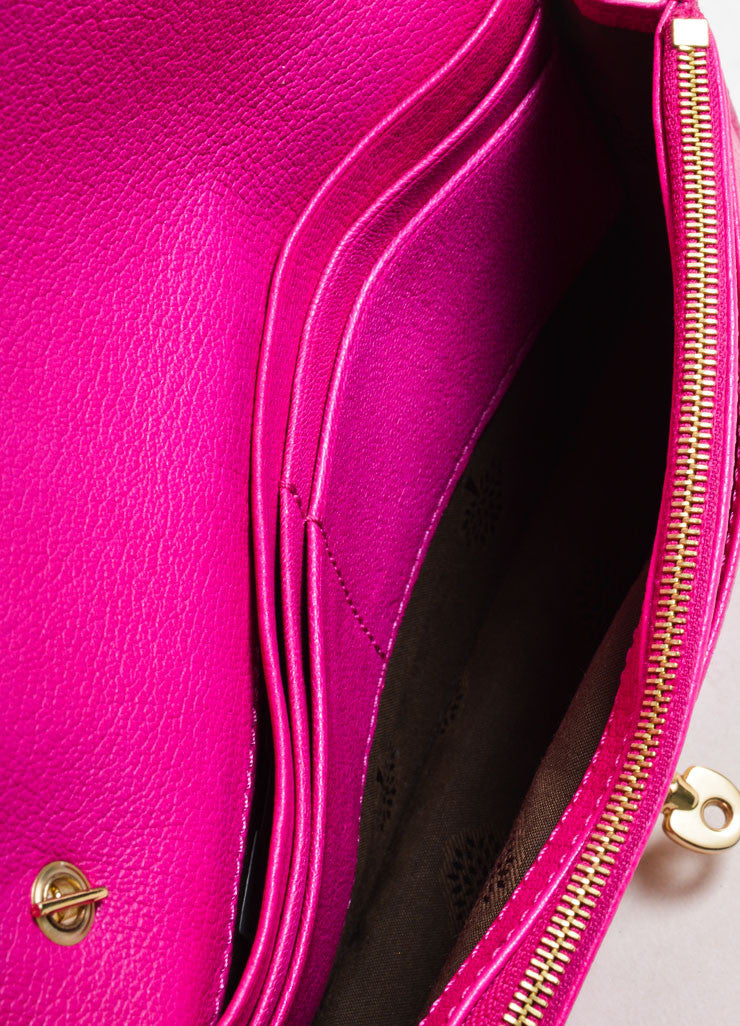 "Mulberry Pink Leather Chain Strap ""Bayswater"" Convertible Shoulder Bag Interior"