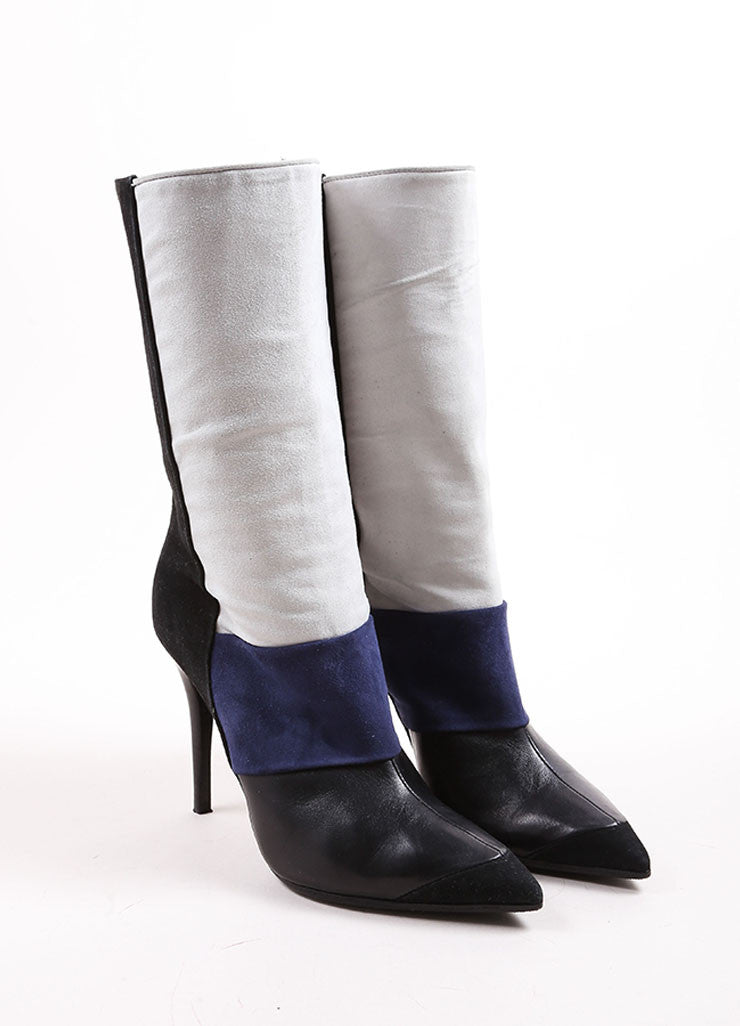 Narciso Rodriguez Blue, Cream, and Black Color Block Suede and Leather Heeled Boots Frontview