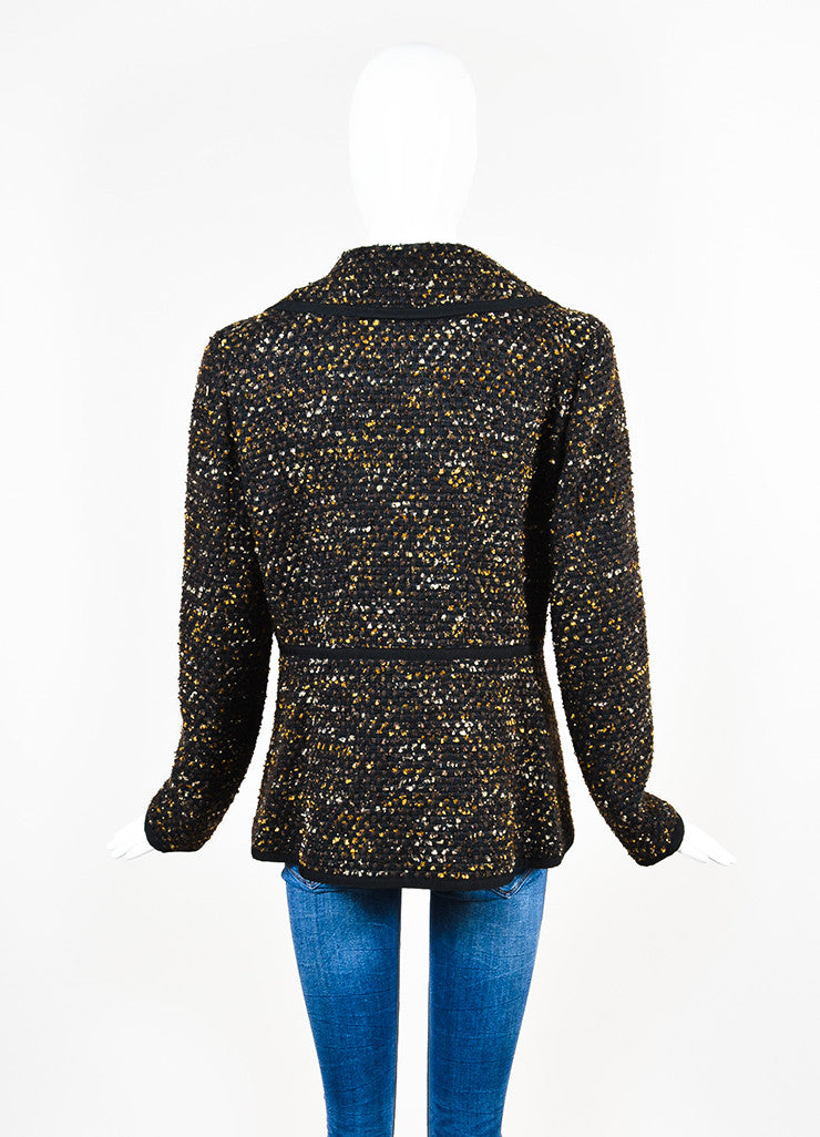 Black, Brown and Gold Oscar de la Renta Woven Tweed Jacket Back